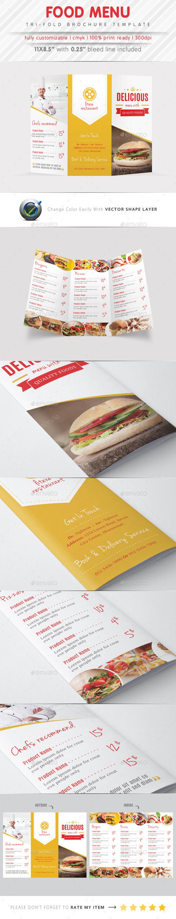 食品菜单三折叠手册 - 详情页面 - psdmac